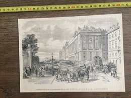 DOCUMENT GRAVURE 1871 PARIS CONSTRUCTION BARRICADES RUE DE RIVOLI SAINT FLORENTIN - Vieux Papiers