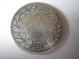 5 Francs Louis Philippe 1831 MA (petit Palmier) Tranche En Creux - J. 5 Francs