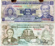 Lot De 2 Billets De Honduras 2 Lempiras Et 10 Lempiras - 2 Lempiras Du 23 Septembre 1976 10 Lempiras De 1978 - Honduras