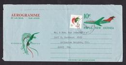 Papua New Guinea: Stationery Aerogramme To USA, 1974, Extra Stamp, Airplane, Bird, Rare Real Use (minor Damage See Scan) - Papoea-Nieuw-Guinea