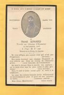 FAIRE PART DECES  SOLDAT POILU  MILITAIRE REGIMENT  WWI 22 EME RI INFANTERIE SINARD 23 OCTOBRE 1917 - Documents