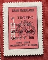 SPORT 3 TROFEO CALCIO  CONTRIBUTO DI L. 100  LUCANIA FILATELICA CLUB PREMIO I MIGLIORI NELLO SPORT E NEL TURISMO - Erinnophilie
