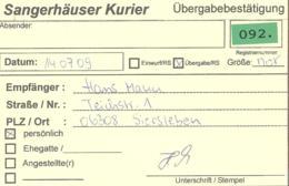 Sangerhauser Kurier  Ubergabebestatigung - [7] République Fédérale