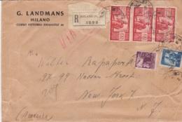 1947 DEMOCRATICA Striscia Tre Lire 100 + Lire5 E 20 Wu Raccomandata Milano Per Gli USA - 6. 1946-.. Repubblica