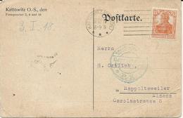 CARTE POSTALE 1917 AVEC TIMBRE PERFORE PHÖNIX-VERLAG KATTOWITZ - Germany