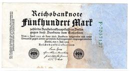 Billet Allemand De 500 Mark Le 7-7-1922 Cachet Gris 7 Chiffres En B - Taché - - [ 3] 1918-1933 : Repubblica  Di Weimar