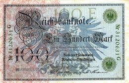 BILLET ALLEMAND DE 100 MARK TYPE 1908 LE 7 FÉVRIER 1908 CACHET VERT En T T B - [ 2] 1871-1918 : German Empire