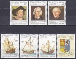 Kongo Congo Brazzaville 1991 Geschichte History Entdeckungen Discovery Kolumbus Columbus Schiffe Wappen, Mi. 1226-2 ** - Congo - Brazzaville