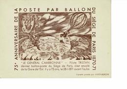 CARTE POSTALE AERIENNE, 75 EME ANNI DE LA POSTE PAR BALLON ,1 AEROSTIERS NADAR,DARTOIS,DURUOF , EXPO BALLON POSTE 1946 - France