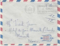 2 LETTRES PAR AVION 1952/53 AVEC CACHETS MECANIQUES POSTE AUX ARMEES T.O.E. (SAÏGON NAVAL) - Marcophilie (Lettres)