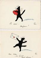 CHATS   - 2  Cartes Illustrées Par Poni. - Cats