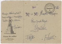 Camp Militaire D'internement Nennighofen Suisse FM Pour Gaillac Foyer Du Soldat Offert Par Le Secrét.catholique Delémont - Poste Militaire