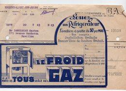 Maisons-Alfort : LOUEZ UN REFRIGERATEUR (au Gaz) 1938 + Facture (PPP18142) - Publicités