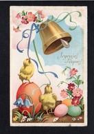 Fête Voeux  / Joyeuses,Heureuses Pâques / Poussins,cloche,oeufs - Pascua
