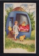Fête Voeux  / Joyeuses,Heureuses Pâques / Poussins,fillette,oeufs / Dessin Non Signé - Pascua