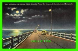TAMPA, FL - MOONLIGHT OVER GANDY BRIDGE, SPANNING TAMPA BAY BETWEEN ST PETERSBURG & TAMPA -  HILLSBORO NEWS CO - - Tampa