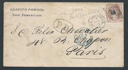 ESPAGNE - SPAIN - 1871 - Timbre N°113 Sur Lettre - Départ San Sébastien à Destination De Saint Jean De Luz - 1870-72 Régence