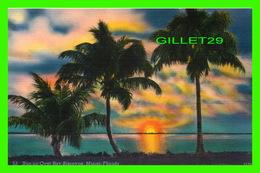 MIAMI, FL - SUN-UP OVER BAY BISCAYNE -  NOVELTI-CRAFT CO - - Miami