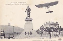 CPA 26 @ VALENCE - Statue De Championnet Général De Division De La Révolution Française - Avion Aviation - Valence