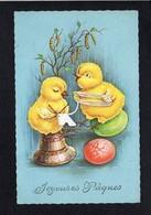 Fête Voeux  / Joyeuses,Heureuses Pâques / Poussins Humanisés,oeuf - Pascua