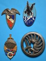 Lot De 4 Insignes Drago, Delsart , à L'époque Les Attaches Ont été Meulées Pour Mettre Sur Une Quille - Militari