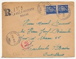 Enveloppe - Affranchissement Composé 4F Pétain Bersier X2 - Recommandé Provisoire La Villa Magenta (Marne) - Vers STO - 1941-42 Pétain