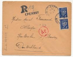 Enveloppe - Affranchissement Composé 4F Pétain Bersier X2 - Recommandé Provisoire Epernay (Marne) - Vers STO - 1941-42 Pétain