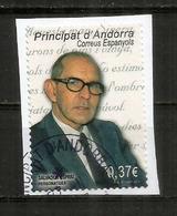 Spanish Poet Salvador Espriu, Timbre Oblitéré Sur Fragment Lettre, 1 ère Qualité - Used Stamps
