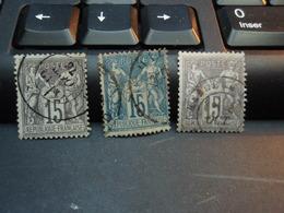 3 Timbre Sage 15 C  Dont Un D'octobre 1876 - 1876-1898 Sage (Type II)