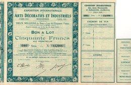 Bon à Lot Exposition Internationale Arts Décoratifs Et Industriels Modernes Paris 1925 - Aandelen