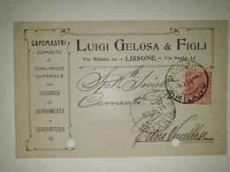 CP269-Cartolina Pubblicitaria Luigi Gelosa - Serramenta E Carpenteria - Lissone - 1900-44 Victor Emmanuel III