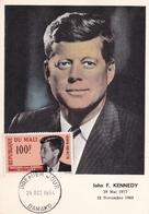 Mali 1964 John F Kennedy 100f Maximum Card First Day Of Issue - Mali (1959-...)