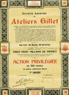 S.A. Des ATELIERS GILLET ; Action Privilégiée - Automobile