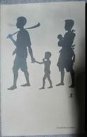 Carte D Une Famille Du SIAM   SIAMESE FAMILLY Siamois Thailande Thalandais - Silhouettes