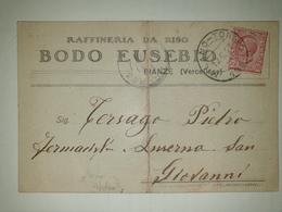 CP272-Cartolina Pubblicitaria Bodo Eusebio - Raffineria Da Riso - Bianzè - 1900-44 Vittorio Emanuele III