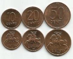Lithuania 10 - 20 - 50 Centu 1991. High Grade Set Of 3 Coins - Lithuania