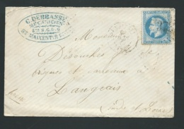 Lsc Affranchie Par Yvert N° 29 Oblitéré  Gros Chiffre 3733 St Maixent ( Deux Sèvres )  - Bpho0914 - 1863-1870 Napoléon III Lauré