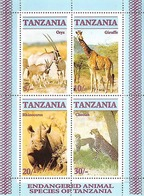 TANZANIE Animaux, Animals, Rhinoceros, Girafe, Oryx, Panthere, Yvert BF 58 ** MNH. - Timbres