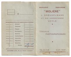 """Pochette De Photos (vide)  *  Travaux Photographiques """"Molière"""" J. Breugelmans, Rue Vanderkindere, 217,   Uccle) - Photographie"""