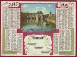 Calendrier PTT 1960 - Les Douves De Chenonceaux - Calendriers