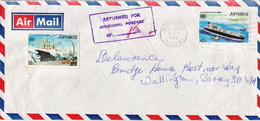 Postal History: Jamaica Cover Returned For Addditional Postage Of 15c - Jamaica (1962-...)