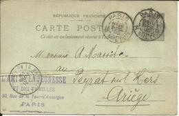 Entier Postal , 10 C , Type Sage , 1898 , N° YT 89 - CP5, Cachets De PARIS ( R. Milton ) &  LA BASTIDE / L'HERS - Entiers Postaux