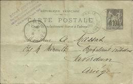 Entier Postal , 10 C , Type Sage , 1898 , N° YT 89 - CP5, Cachets De PARIS ( Av. De L' Opéra ) &  LA BASTIDE / L'HERS - Entiers Postaux