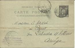 Entier Postal , 10 C , Type Sage , 1900 , N° YT 89 - CP5, Cachets De PARIS ( Av. De L' Opéra ) &  L'ARIEGE - Entiers Postaux