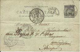 Entier Postal , 10 C , Type Sage , 1900 , N° YT 89 - CP5, Cachets De PARIS ( Av. De L' Opéra ) , TOULOUSE , BAYONNE & .. - Entiers Postaux