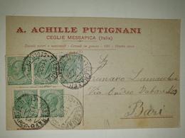 CP297-Cartolina Pubblicitaria Achille Putignani - Tessuti E Steri E Nazionali - Ceglie Messapica - 1900-44 Victor Emmanuel III
