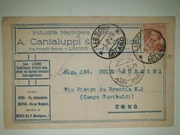 CP298-Cartolina Pubblicitaria Cantalucci & C. Cogliati - Industria Marmifera - Lissone - 1900-44 Victor Emmanuel III