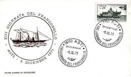 ITALIA - 1971 ASTI 13^ Giornata Del Francobollo Annullo Su Fdc Ass. Fil. Astigiana GIGI CONTE - Giornata Del Francobollo