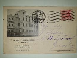 CP301-Cartolina Pubblicitaria Villa Pensione Thea - Venezia Lido - 1900-44 Victor Emmanuel III