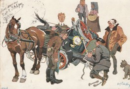 Illustrateurs : Accident : Entre Un Vélo Et Un Attelage à Cheval ( Précurseur ) - Autres Illustrateurs